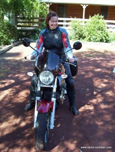Jane on her new Moto Guzzi Breva 750, 2005.